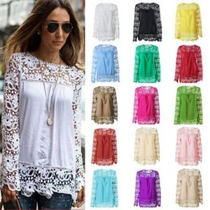 Spring Autumn Plus Size Sexy Lace Women Blouse Long Sleeve Hollow Out O Neck Chiffon Women Tops