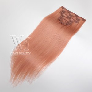 Vmae HOT SALE DOUBLE European Brazilian Clip Ins Human Hair Extensions Unprocessed 100g Natural Color Golden 13A Customized Color