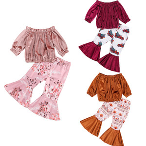 Christmas Baby Gold velvet outfits girls Off Shoulder top+ Flower print Flare pants 2pcs 2020 new Boutique kids Clothing Sets
