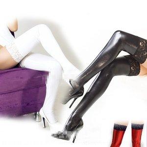 v97AN incollato vestiti di sesso pelle verniciata stretti pizzo calze calzini sexy in pelle calze elastiche abiti neri di pizzo della regina-edge giocattoli regina