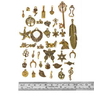 50g / set Mezcla Oro Surtido del amor del árbol de aleación de metal hueco encanto antiguo colgantes de los encantos de la joyería DIY que hace el arte Finding DIY Bolsas