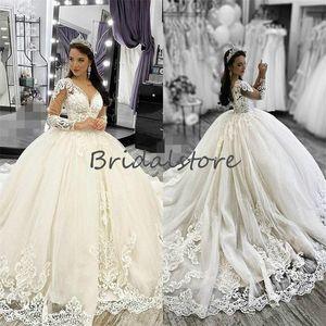 Cinderella Lace Long Sleeve Wedding Dresses Fluffy Ball Gown Applique Sweep Train Castle Wedding Gown 2021 Princess V Neck Corset Bride