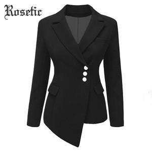 Rosetic gótica mujeres de la chaqueta de las mujeres más el tamaño de la capa del juego Americana negra Mujer Blazers y chaquetas 2020 corto delgado