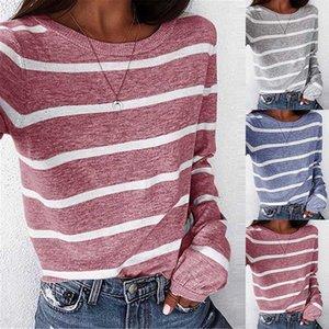 Stripe T Shirts Women Medium-long Causal TShirt Thin O-neck Top Korean Streetwear Plus Size Women Clothes 2020 Clothes