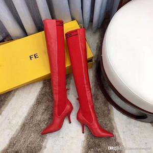2019 الفاخرة النساء أزياء مثير محبوك الجوارب سليم على الأحذية في الركبة الخنجر أحذية الكعب العلامة التجارية مزاج للجودة عالية