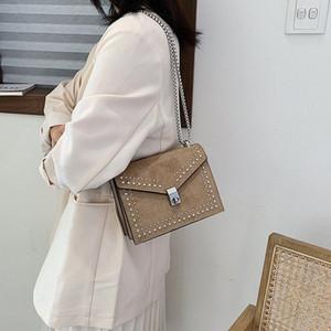 Scrub Leather Shoulder Messenger Bags Chain Rivet Lock Crossbody Bag For Women New Female Travel Handbag Bolsa Feminina ppOy#