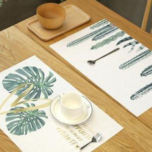 оптовая Креативный ПВХ Пластиковые Placemat для обеденного стола Зеленый Растения Pattern Таблица Mat Водонепроницаемый Non скольжению Placemats Coaster 45 * 30CM 1шт