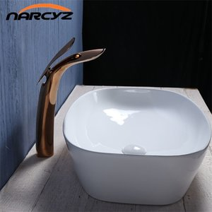 Basin Faucets New Rose Gold Gold Bathroom Faucet Waterfall Single Hole Cold and Hot Water Tap Basin Faucet Mixer Taps XT-432