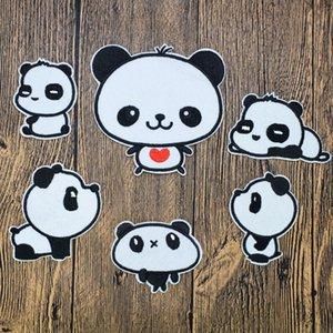 6 piezas de pandas parches insignia de animales para la ropa de hierro parche bordado de coser apliques de hierro en los accesorios de coser parches para la ropa