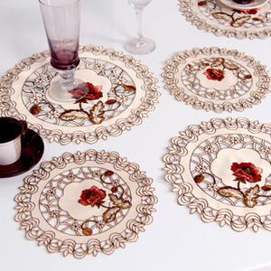 NEW Luxuxspitze-Runde Stickerei Tabelle Tischset Weihnachten Pad Küche Essen Tasse Kaffee Doily Platzdeckchen Cloth Cup