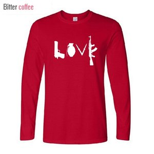 NEW Autunno inverno Nuovo Banksy Amore Armi Cotton T-shirt Men Casual Long sleeve and Men Tops & Tees Euro Size 0924