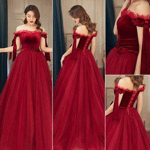 2020 burgundy In Stock Tulle velvet Prom Dresses A Line off shoulder Floor Length Formal Evening Occasion Party Gown Fast Shipping 5763