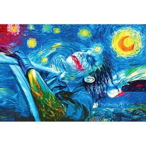 NICOLESHENTING Joker - Batman The Dark Knight Superhero Movie Art Silk Plakat-Druck Trippy Starry Night Bild-Wand-Dekor