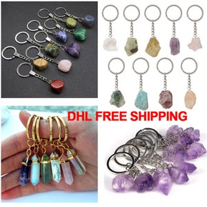 Hot selling natural stone crystal key chain hexagonal post warhead crystal amethyst agate irregular ring mobile phone bag pendant key chain