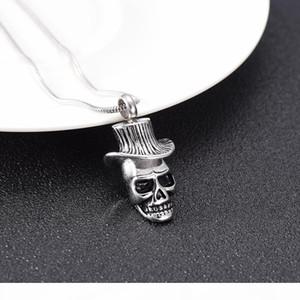 LkJ10019 Men Necklace Skull Cremation Urn Cowboy Hat Pendant Memorial Ashes Keepsake 316L Stainless Steel Funeral Casket Locket