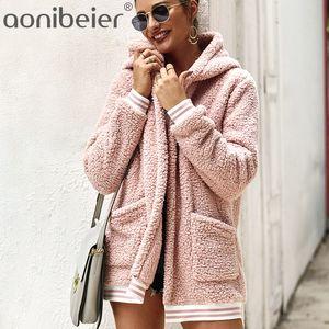 Aonibeier Faux Fur Coat con cappuccio cardigan lungo Donna Giacche 2020 inverno caldo a maniche lunghe a righe Tasche Patchwork donna cappotto