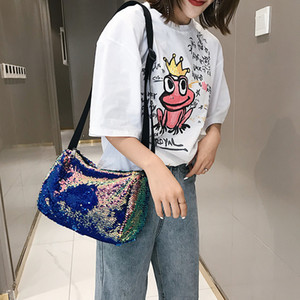 2020 Summer Fashion Design Sequin Bling High Capacity Bucket Bag Ladies All-match Wide Belt Single Shoulder Messenger Bag CX200813