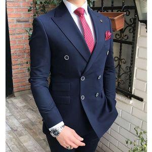 Double Breasted Men Suits Navy Blue Groom Tuxedos Peak Lapel Groomsmen Wedding Prom Best Man 2 Pieces ( Jacket + Pants +Tie ) L571