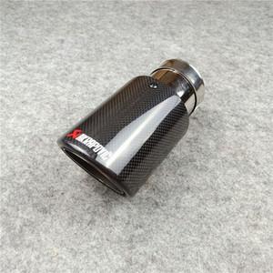 1 Parça Uzunluğu 170mm Egzoz Borusu Araba Evrensel Parlak Siyah Sıkma AK Karbon Fiber Memeler Değiştirme Akrapovic Paslanmaz Çelik Susturucu İpucu