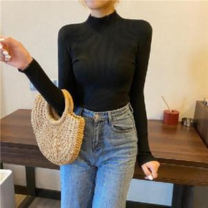 Corea del suéter de punto blanco para las mujeres de cuello alto de manga larga otoño delgado suéter femenino de la ropa de moda de las nuevas señoras ropa