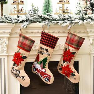 Ropa de medias de Navidad Bolsa de regalo bordado ornamentos de navidad creativo historieta del coche Flores de Santa Claus decoraciones de Navidad OWC1357