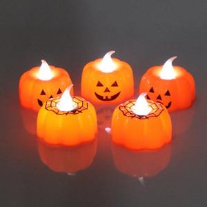 할로윈 장식 DWF843 식사 할로윈 거미 호박 램프 플라스틱 호박 양초 빛 LED 전자 무 화염 캔들 홈 바