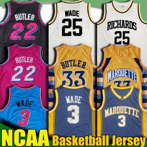 NCAA Marquette College Jimmy Butler 22 Jersey Dwyane Wade 3 Maillots Tyler Kendrick Duncan Herro Nunn Robinson Université de basket-ball T-shirt