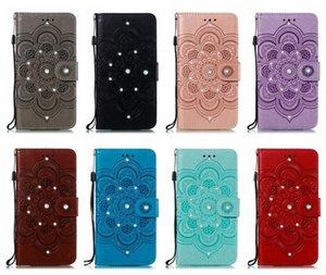 cgjxs Fall für Iphone 11 Xr Xs Max 8 7 6 Samsung S10 S20 Bling Diamant Datura Impressum Mappen-Leder-Blumen-Mandala-Karte Id Slot Spitze Flip C