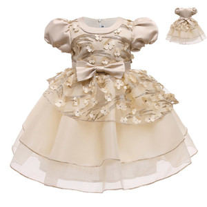 {Sweet Baby} Girl Puff Sleeve Dress Flower Girl Dresses Baby Infant Casual Clothes Champagne Flower Sequined