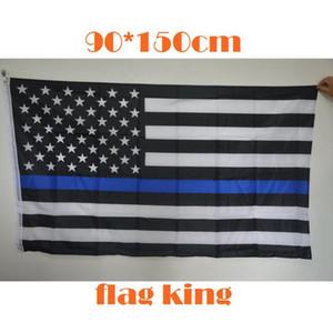90 * 150cm Banderas BlueLine EE.UU. Policía 3x5 pies Thin Blue Line EE.UU. Bandera Negro blanco y azul de la bandera americana CYZ2767