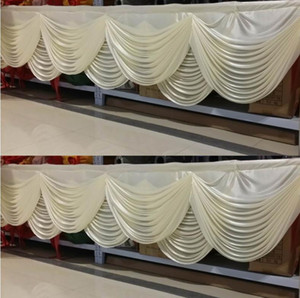 Top Style White Wedding curtain Swag Ice Silk Backdrop Curtains Swag Ladder Drops For Wedding Party Table Skirt Table Cloth Decoration