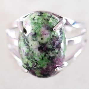 1Pcs Women Ring Natural Stone Red Zoisite Oval Cabochon CAB Beads Adjustable Finger Ring Jewelry Gift K166