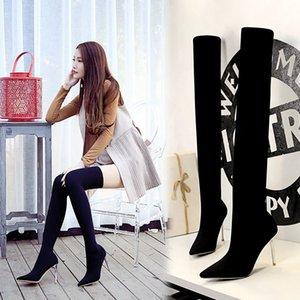 Espejo de cuero atractivo de alta del muslo botas de las mujeres altos sobre los cargadores de la rodilla para las mujeres del dedo del pie Punto Blanco Rojo Fetish Fiesta Largos Zapatos