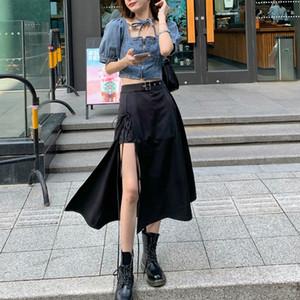 2 Adet Set Kadınlar Yaz 2020 Gotik Siyah Etek Kore Düzensiz y2k Etekler + Crop Top Moda Suits Seksi Streetwear Seti Şık Haber X0924