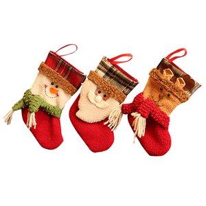 Traditional Christmas Stockings Set of 3 Santa Reindeer Snowman with Snowflake Christmas Party Gift