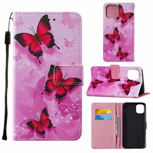 Leather Wallet Case For Samsung S20 Note 20 Ultra A51 5G A71 A21S A01 Butterfly Geometry Panda Cat Flower Heart Love Magnetic Flip Cover