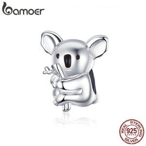 Orijinal Yılan Bilezik Bijoux BSC093 için bamoer Zoo Koleksiyon Koala Panda Bear Charm Gümüş 925 Hayvan Metal Boncuk