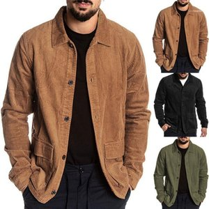 Lapel Neck Pure Color Jackets Pocket Single Breasted Long Sleeved Jacket Mens Autumn Casual Clothing Mens