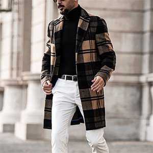 Manga de los hombres del diseñador abrigos del estilo británico de la solapa de cuello largo flojo capas de foso del color sólido ocasional hombre Prendas de abrigo