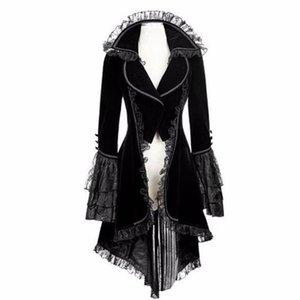 Novelty Female Jacket Women Vintage Elegant Long-sleeved Waist Lace Back Bandage Lace Stitching Tuxedo Jacket OverCoat N10