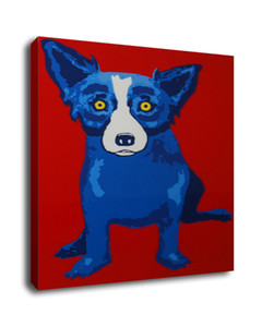 Arte Pintura al óleo animal de impresión En Wall Fotos Perro azul de la lona de arte moderno de pared modulares George Rodrigue Para Sala Deco G056