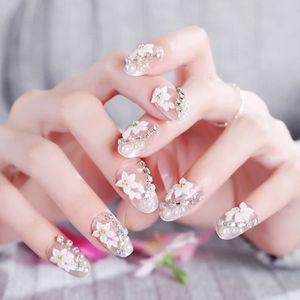 24X / set Französisch lange künstliche Nagel-3D-Blumen-Muster DIY Künstliche Nägel mit Kleber Braut Hochzeit elegante falsche Nägel