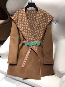 donne di fascia alta le ragazze CAPPUCCIO WRAP CAPPOTTO CON CINTURA giacche lunghe del cappotto del manicotto della tuta sportiva cappotto poncho cape temperamento 2colors mantello scialle cappotto