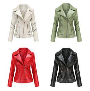 Mulheres jaqueta de couro PU fina lapela Neck Long Sleeve Casacos Casual Sólidos Mulher Cor Casacos com Zipper