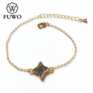 Fuwo Fashion Seashell Four Wintered Star سوار مع الذهب شغل سلسلة الوردي / أبيض / أسود / أذن البحر شل سوار مجوهرات BR520