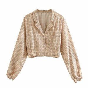 Kadın Bluzlar Gömlek 2021 Yaz Avustralya Niş Tasarım Rahat Geometrik Baskılı Uzun Kollu Takım Yaka Kısa İnce Gömlek