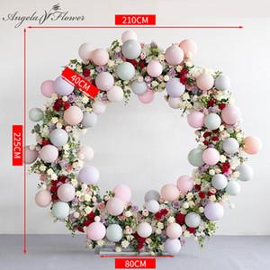 Criativa personaliza seda arranjo decoração arco anel de ferro balão flor do casamento adereços estágio fundo loja abertura + insuflação