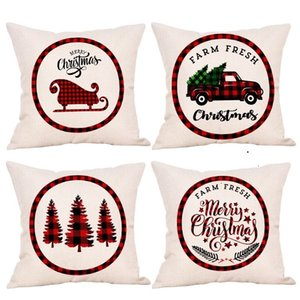HOT Christmas pillow case linen cartoon truck Christmas tree holding pillow cover cushion cover Christmas decoration 45*45cm 25PCS T500218