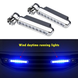 2Pcs Wind Energy Car Daytime Running Lights 8 LED Lamp Beads Car Front Grille Exterior Decorative Atmosphere Light