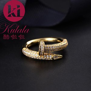 Top deluxe banquet copper-plated 18K gold ring jewelry fashionable European style miniature women's nail ring jewelry